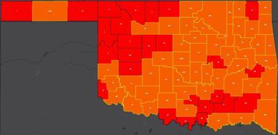 COVID-19 Oklahoma map for 8.5.20