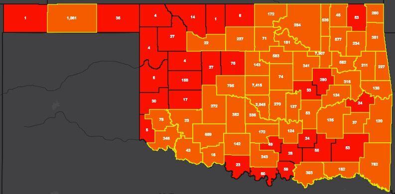 COVID-19 Oklahoma map for 7.25.20