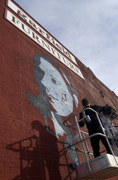Youngblood waitress mural painted downtown