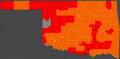 COVID-19 Oklahoma map for 7.15.20