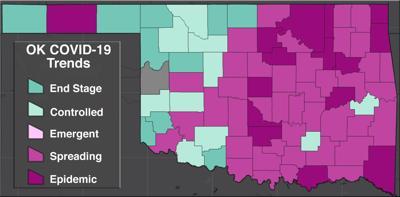 COVID-19 Oklahoma map for 7.3.20
