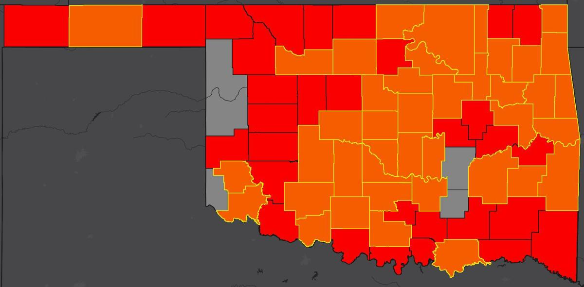 COVID-19 Oklahoma map for 5.18.20