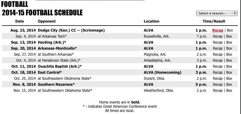 College football schedules highlighted | Sports | enidnews com