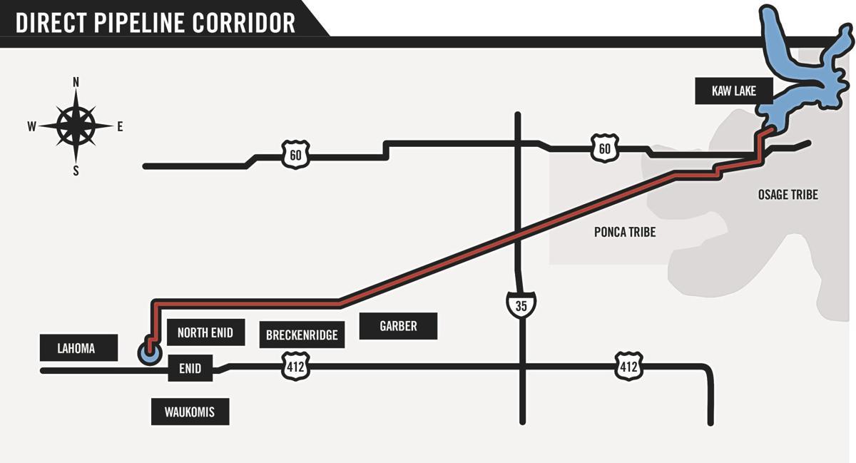 Kaw Lake pipeline route