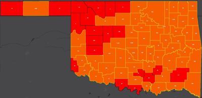 COVID-19 Oklahoma map for 8.18.20