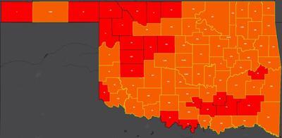COVID-19 Oklahoma map for 8.11.20