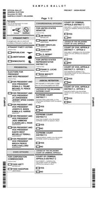 Sample Ballots For Oklahoma General Election 11 3 20 News Enidnews Com