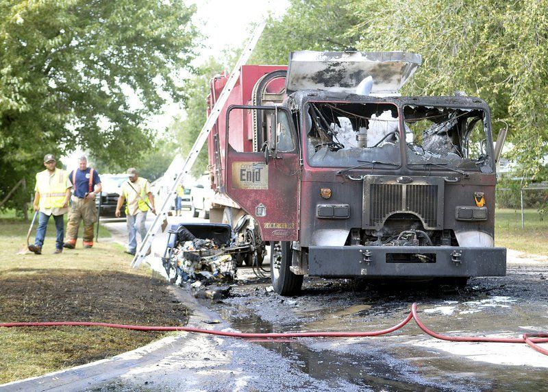 Trash truck burns