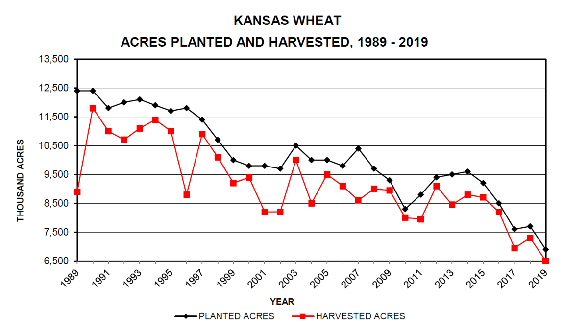 Kansas Wheat Acres Planted and Harvested, 1989-2019