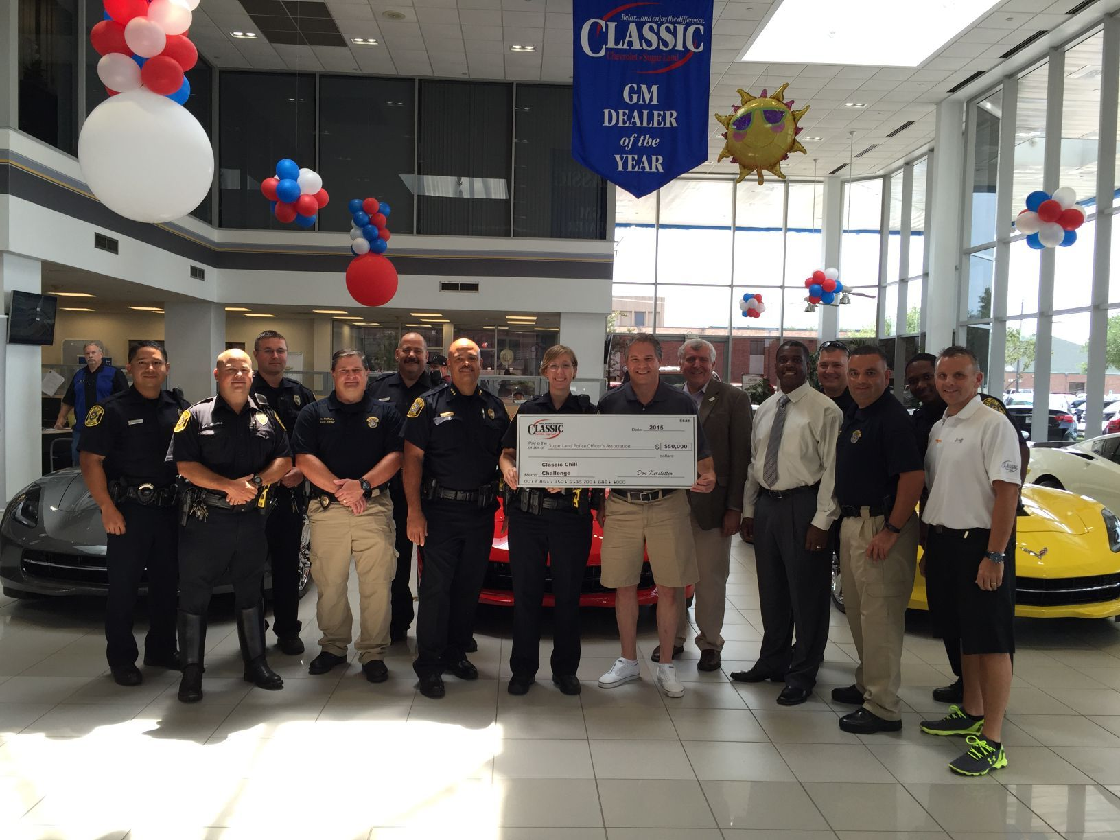 CLASSIC CHEVROLET SUGAR LAND OWNER DON KERSTETTER BACKS THE BLUE WITH  $50,000 CHECK