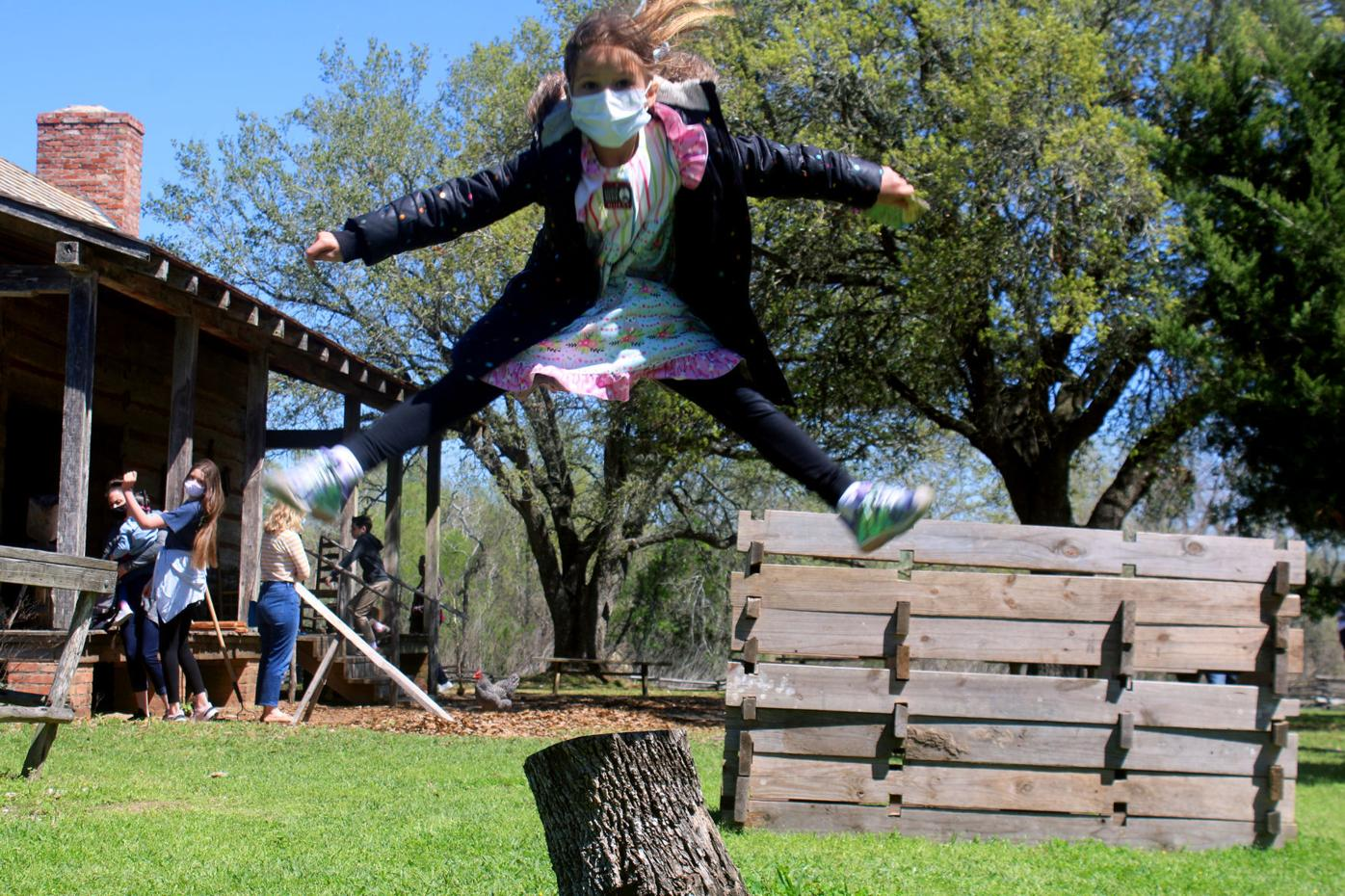 Jumping for joy at George Ranch Historical Park