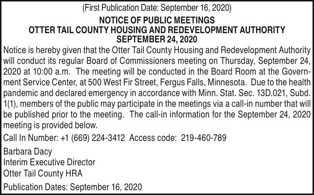 OTC HRA - Notice of meeting on 09.24