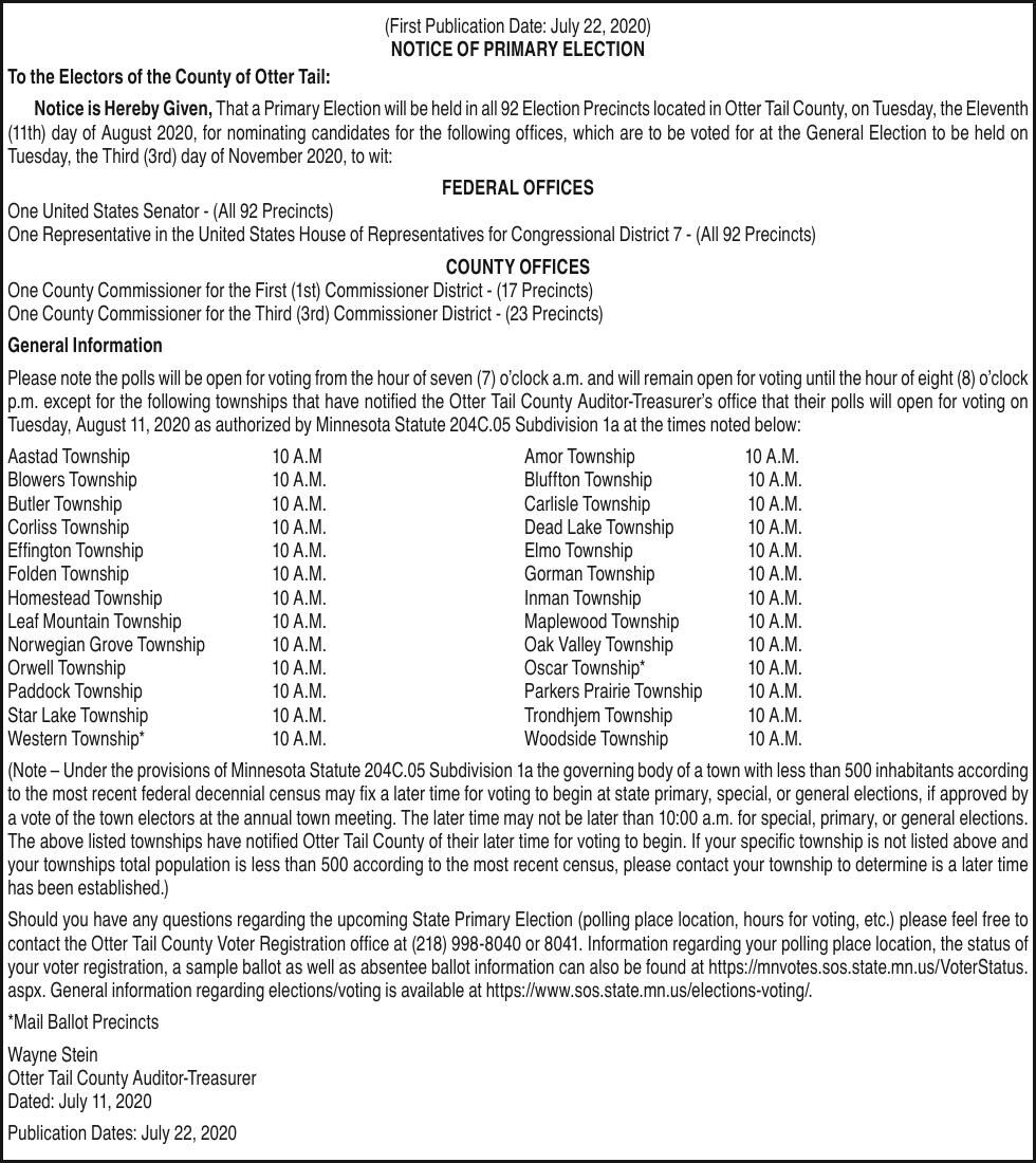 Notice of Primary Election 8/11/2020