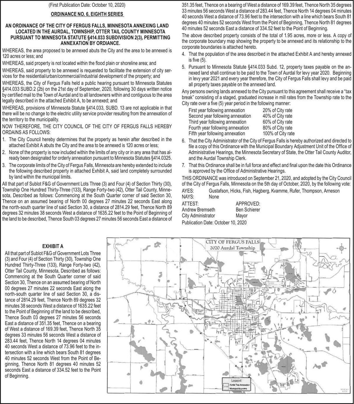 City of FF - Ordinance 6 - Gerhardson Annexation