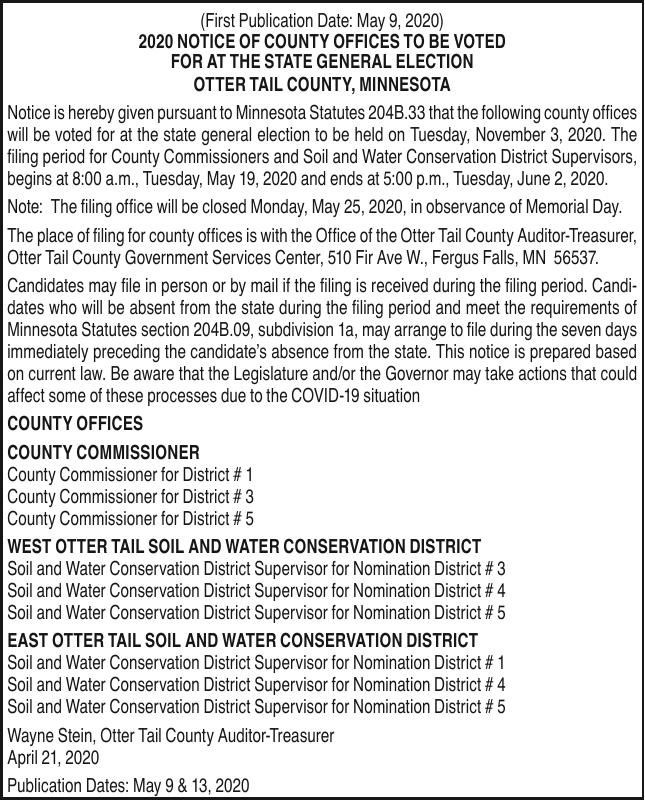 2020 County Offices to be Voted