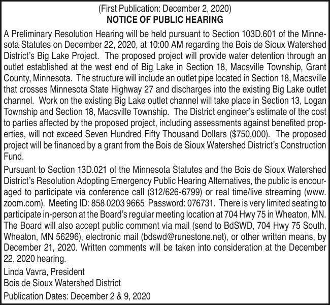 BDSWD - Public Hearing