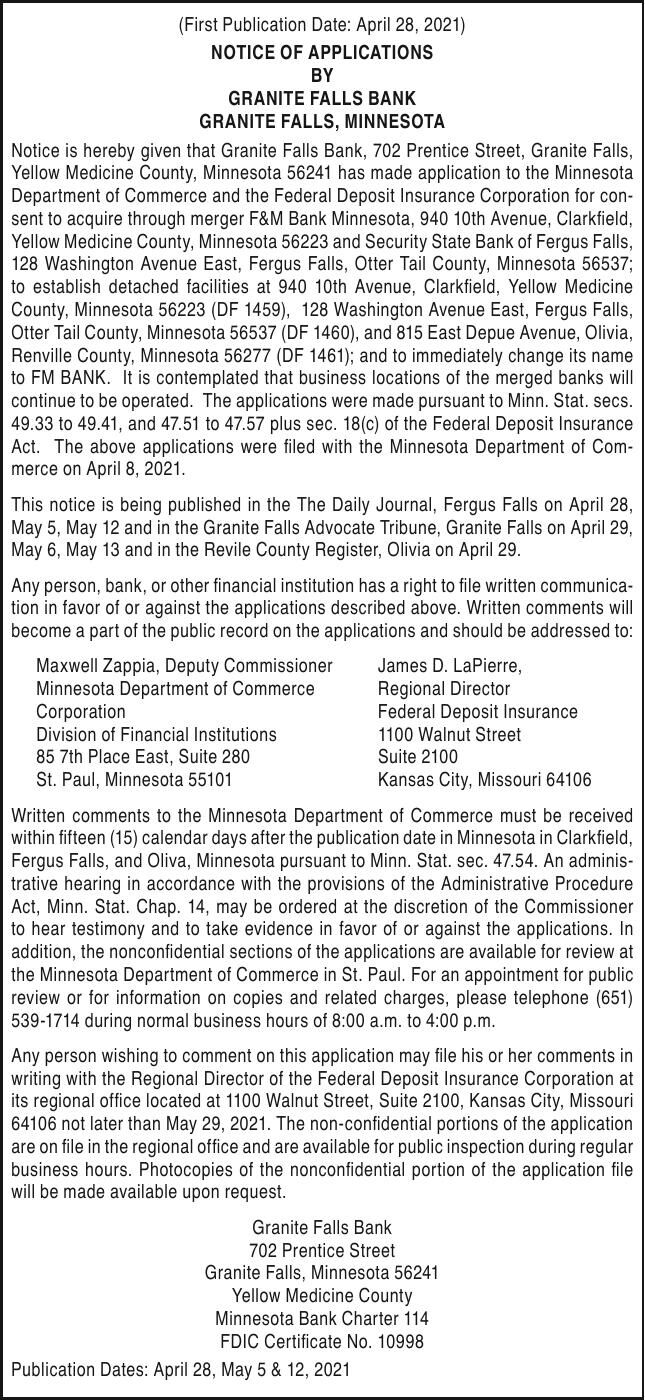 Security State Bank and F&M Bank - notice