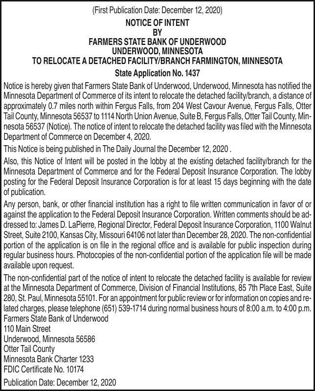 Notice of intent to relocate - Farmers State Bank