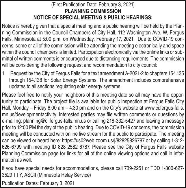 City of FF - Planning Com Public Hearing 02.17.21