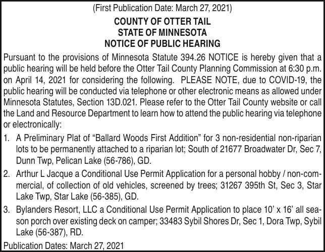 OTC - Planning Comm - Notice of Public Hearing 04.14