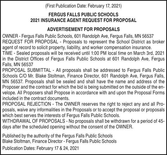 ISD 544 -  Request for Proposals - Agent of insurance