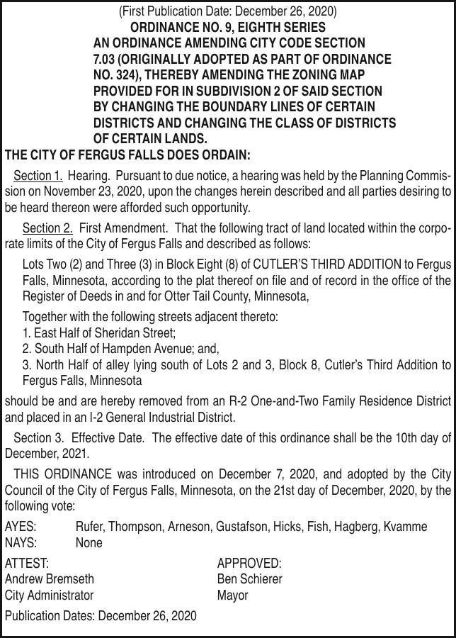 City of FF - Ordinance 9, 8th Series