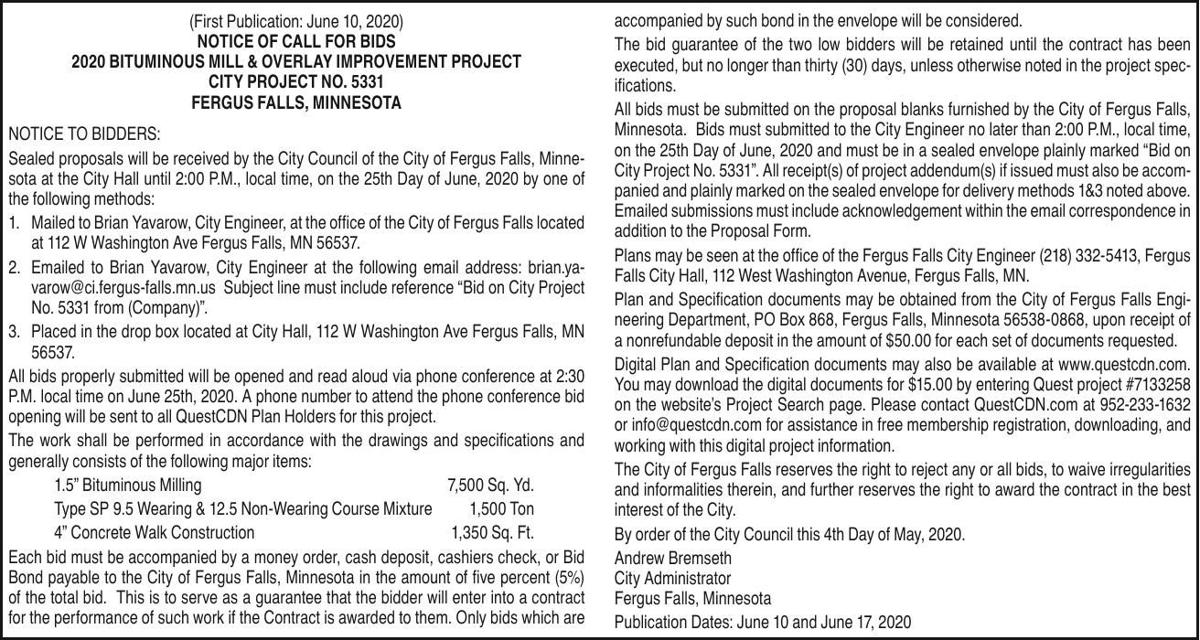 Notice for Bids-2020Bituminous Mill & Overlay Improvement Project