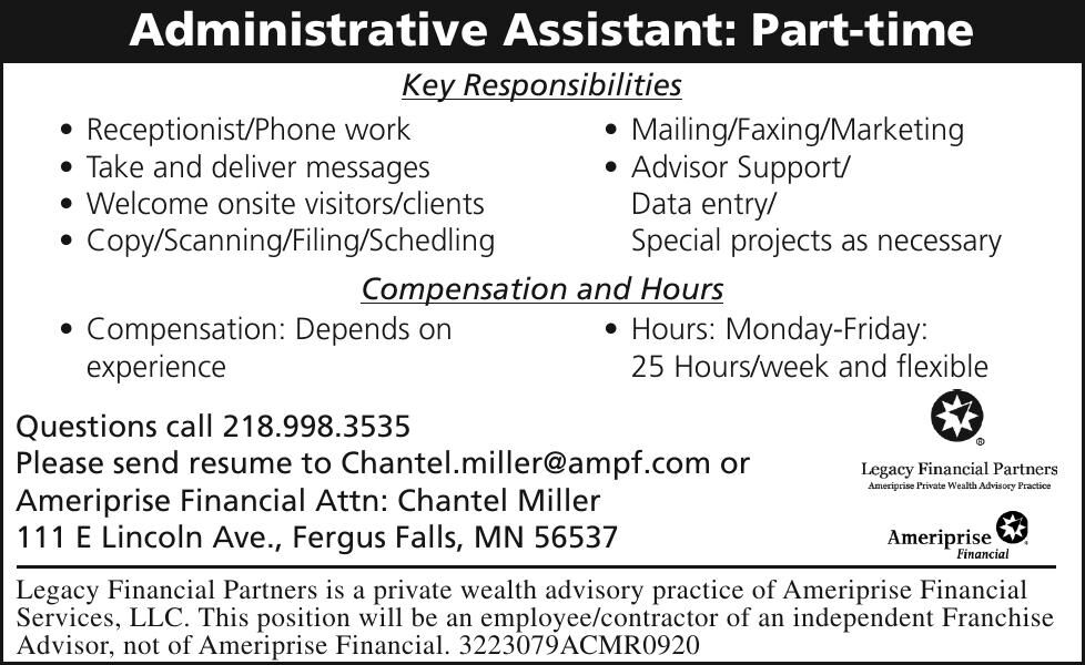 Administrative Assistant: Part-time