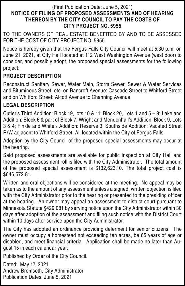 City of FF - Filing for Proposed Assessments No 5955