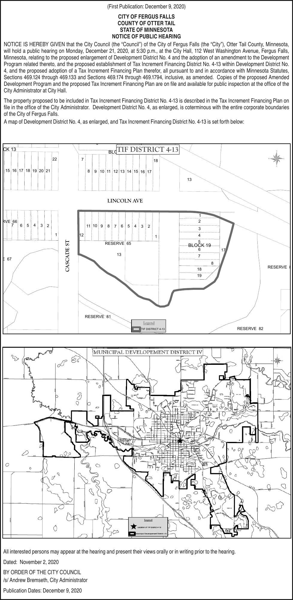 City of FF - Public Hearing - Enlarge Development of District 4
