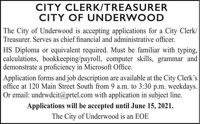 City of Underwood - Clerk/Treasure