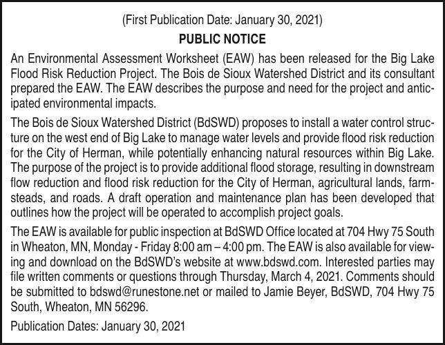 BDSWD - EAW - Big Lake Flood Risk Reduction Project