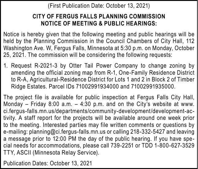 City of FF - Planning Commission Public Hearing 10.25.21