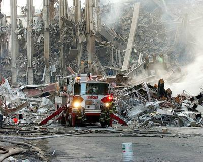 A fire truck navigates the wreckage in NYC