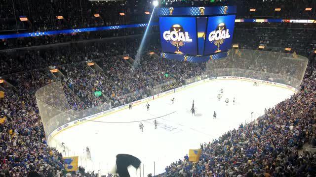 Blues goal celebration in Game 4