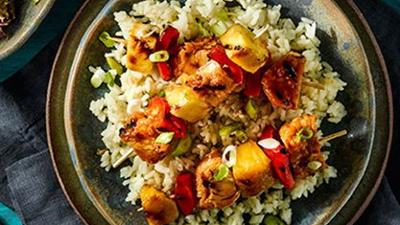 Tiki Chicken Skewers with Pineapple Rice