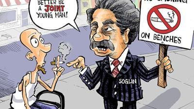 Hands Cartoon: Soglin wants to ban smoking cigarettes on benches