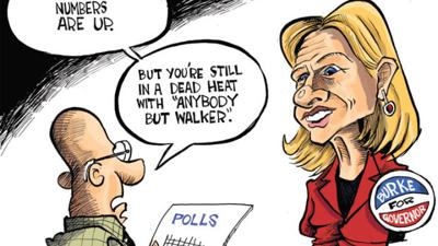 Hands Cartoon: Burke in dead heat