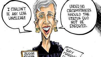 Hands Cartoon: Judge Crabb's clear ruling