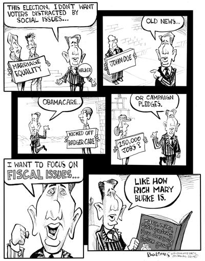 Hands Cartoon: Walker wants to talk about real issues