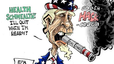 Hands Cartoon: Uncle Sam's bad habit