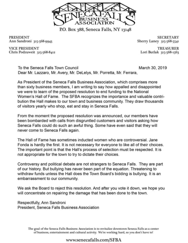 Seneca Falls Business Association letter to Town Board | | fltimes com