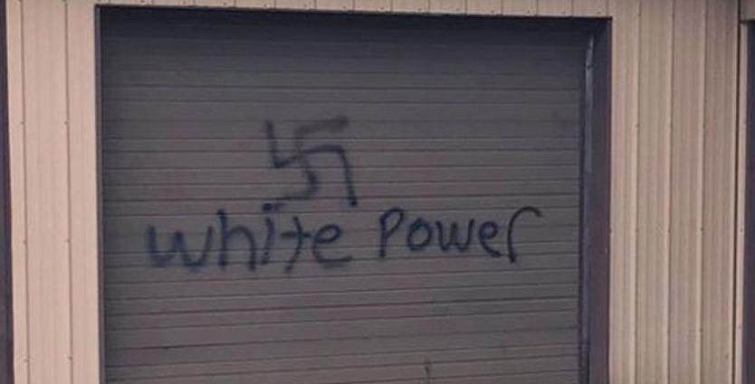 Swastika on storage unit