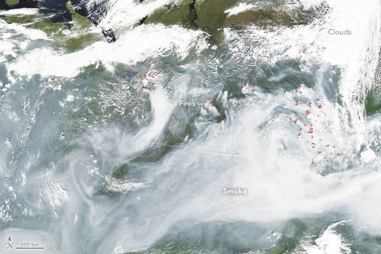 A NASA photograph of Siberia from space of the wild fires fueled in part by natural gas. Many of these fires simply cannot be put out. This photo spans 1,800 miles