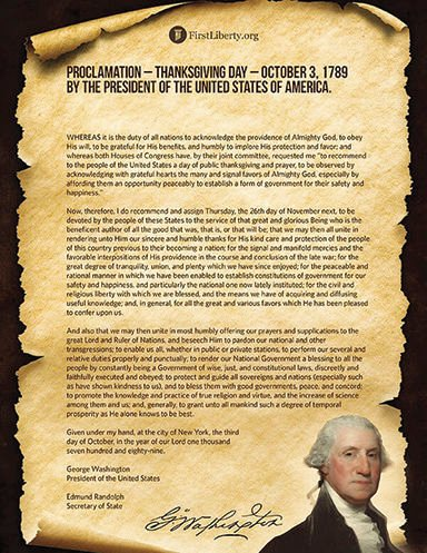 Thanksgiving 1789 proclamation