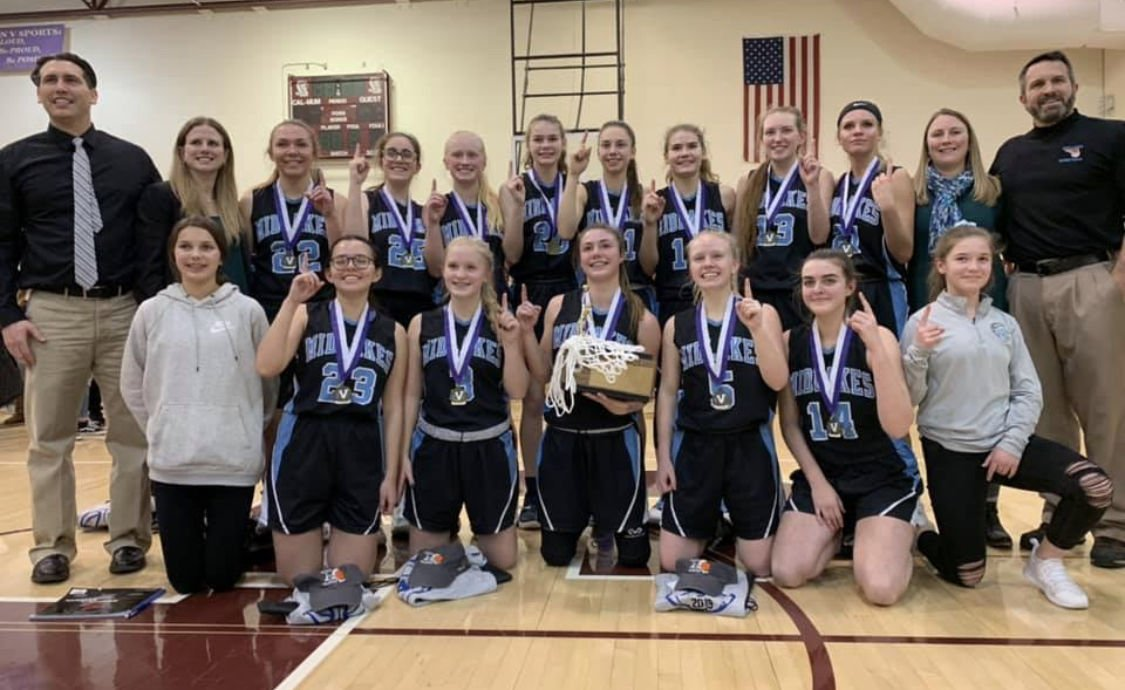 d38505635a30 The Midlakes varsity girls basketball team celebrates after winning its  second straight sectional championships earlier this season.