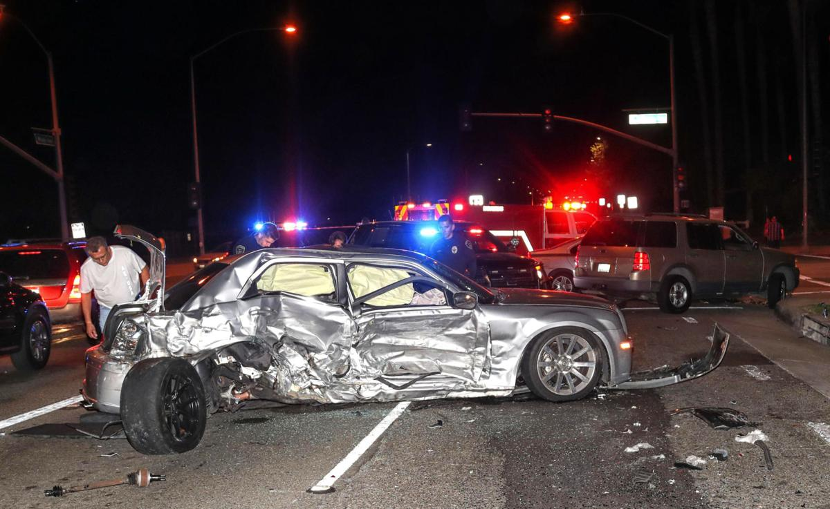 One person is hospitalized after four-car collision in