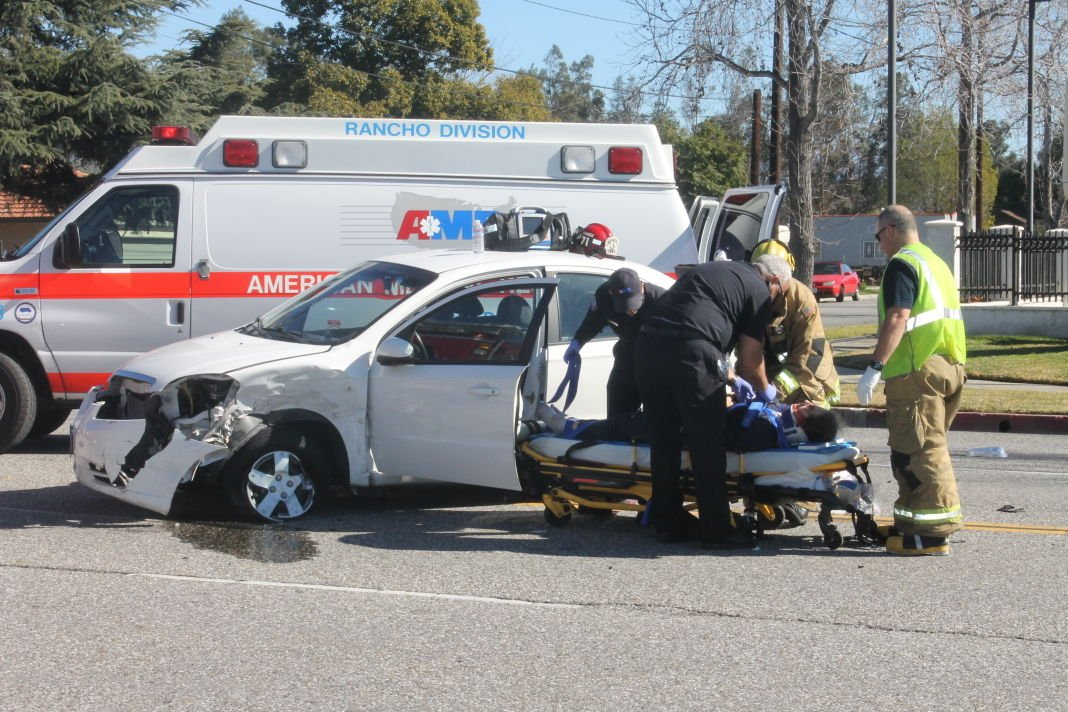 One person taken to hospital after two-car crash in Fontana