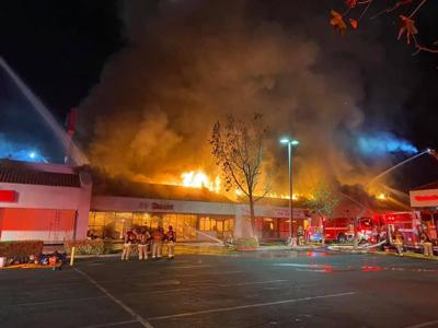 Fire at strip mall