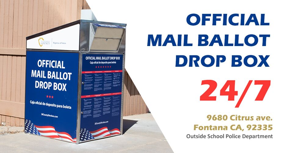 Fontana Has Several Mail Ballot Drop Off Locations For November Election News Fontanaheraldnews Com